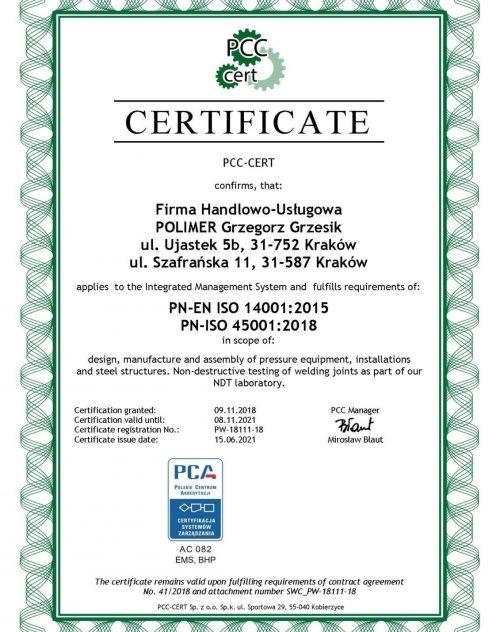 PCC-CERT certificate confirms that Polimer Grzegorz Grzesik company applies ISO 14001:2015